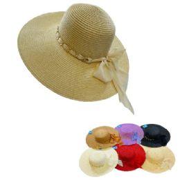 12 Units of Ladies Large Brim Fashion Hat [gold Chain Link Hatband/chiffon Bow] - Sun Hats
