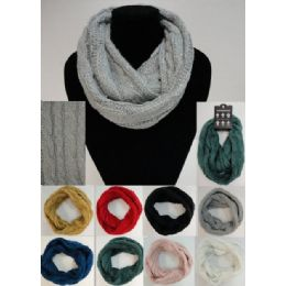 48 Units of Sequins-Cable Knit Knitted Infinity Scarf - Winter Scarves