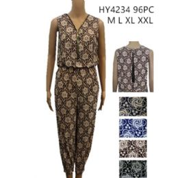 48 Units of Womans Romper Printed Assorted Color - Womens Rompers & Outfit Sets