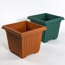 24 Units of Planter 12 Inch Square Column Design 2 Colors No Punched Out Holes - Garden Planters and Pots