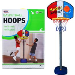 """6 Units of 60""""h Plastic Basketball Play Set W/21"""" Backboard In Color Box - Sports Toys"""