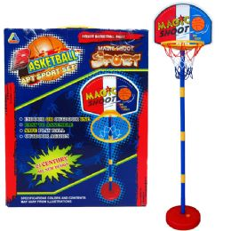 """12 Units of 60""""h Plastic Basketball Play Set W/15"""" Backboard In Color Box - Sports Toys"""