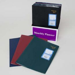72 Bulk Planner Monthly 2017 4ast Vinyl 7.75x10.5 24pc Counter Display