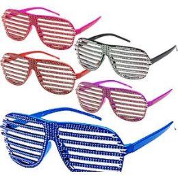 288 Units of Rhinestone Look Shutter Shade Glasses. - Novelty & Party Sunglasses
