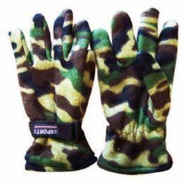 48 of Wholesale Mens Camouflage Fleece Gloves Camouflage Fleece