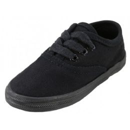 24 of Children's Lace Up Casual Canvas Shoes Black Color Only
