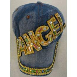 18 Units of Denim Hat With Bling Gold Angel - Kids Baseball Caps
