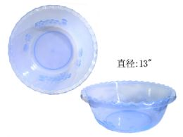 48 Units of Plastic Basin Transparent In Assorted Color - Buckets & Basins