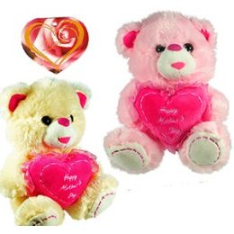 """24 Wholesale Plush """"happy Mother's Day """" Heart Bears"""