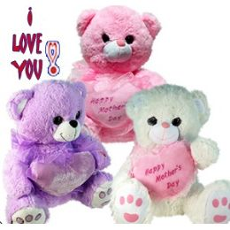 24 Wholesale Plush Pastel Mother's Day Bears With Sound