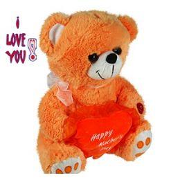 24 Wholesale Plush Orange Mother's Day Bears W/sound.