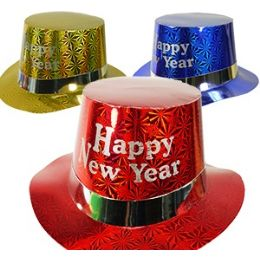 100 Units of Paper Happy New Year Hats. - New Years