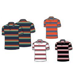 24 Units of Mens 100% Cotton Striped Polo Shirt - Boys School Uniforms