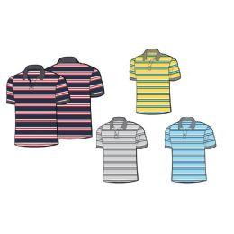 24 Units of Mens 100% Cotton Striped Polo Shirt - Mens Polo Shirts