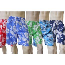 48 Units of Men's Micro Fiber Swim Shorts - Hawaiian Print - Mens Bathing Suits