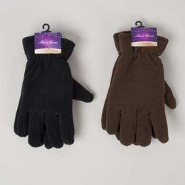 48 of Glove Mens Fleece Adult 10x4.5in 70gm/pair Black/dark Brown Header Card W/hook