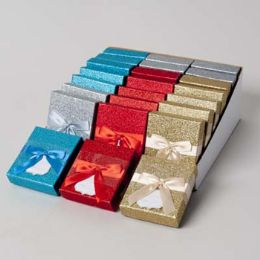48 Wholesale Gift Card Holder Glitter 4ast Colors W/satin Ribbon/24pc Pdq Party Easy Peel Label/bellyband