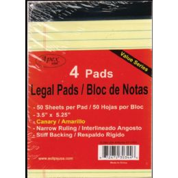 """72 Units of Legal Pads, 3.5""""x5.25"""", 50 Sheets Each, 4 Pk., Canary - Sketch, Tracing, Drawing & Doodle Pads"""
