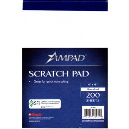48 Units of Ampad Scratch Pad 4x6 - 200 Sheets - White - Sketch, Tracing, Drawing & Doodle Pads