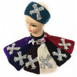 12 Units of Wholesale Small Rhinestone Cross Headband - Headbands