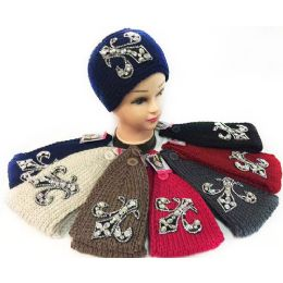 12 Units of Wholesale Rhinestone Fleur De Lis Knitted Headband - Headbands