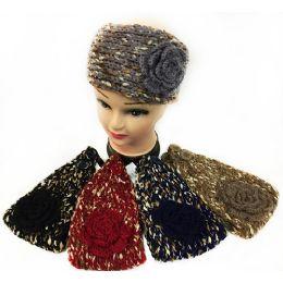 48 Units of Wholesale Satin Thread Knitted Flower Headbands Assorted - Headbands