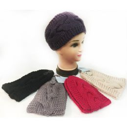 12 Units of Wholesale Solid Cable Knitted Headbands Ear Bands Assorted - Headbands