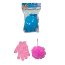 144 Units of 2pc Shower Glove With Scrubber 50g - Shower Accessories