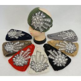 48 Units of Wide Hand Knitted Ear Band W Floral Applique [lace & Gems] Assorted Colors. - Ear Warmers