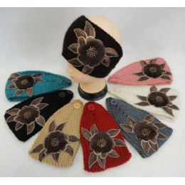 48 Units of Wide Hand Knitted Ear Band W Floral Applique [fur & Beads] Assorted Colors - Ear Warmers