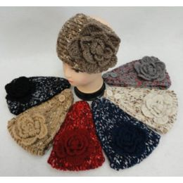 48 Units of Wide Hand Knitted Ear Band [variegated BanD-Solid Bow] Assorted Colors - Ear Warmers