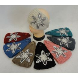 48 Units of Wide Hand Knitted Ear Band [star Flower Applique W Gems] Assorted Colors - Ear Warmers