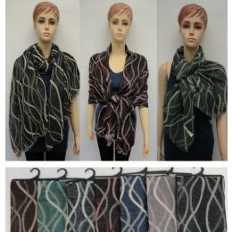 24 Units of Wavy Line Vector Pashmina With Fringe - Winter Pashminas and Ponchos