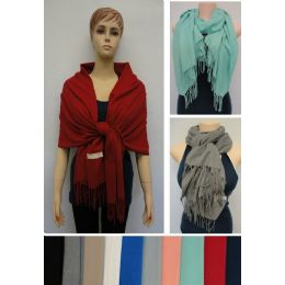 48 Units of Solid Color Pashmina With Fringe - Winter Pashminas and Ponchos