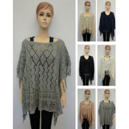 24 Units of Diamond Knitted Shawl With Fringe - Winter Pashminas and Ponchos