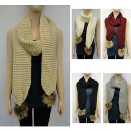 48 Units of Tight Knit With Fur Pompoms Knitted Scarf - Winter Scarves