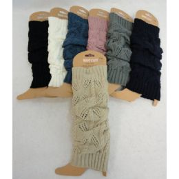 24 Units of Solid Color Knitted Leg Warmers - Winter Sets Scarves , Hats & Gloves