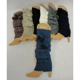 12 Units of Pom Poms Knitted Leg Warmers - Winter Sets Scarves , Hats & Gloves