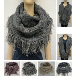 48 Units of Knitted Infinity Scarf With Fringe [tight KniT-Variegated] - Winter Scarves