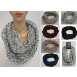 48 Units of Woven Knit With Shag Knitted Infinity Scarf - Winter Scarves