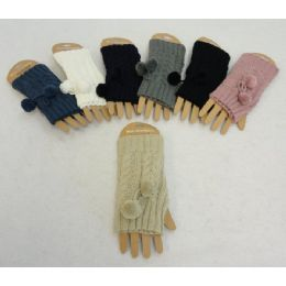 48 Units of Knitted Hand Warmers [cable Knit With Pompoms] - Arm & Leg Warmers