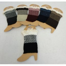 48 of Knitted Boot CuffS-Antique Lace [solid Bottom/twO-Tone Top]