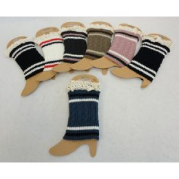 12 Units of Knitted Boot Cuffs W Antique Lace [cable Knit Varsity] - Womens Leg Warmers