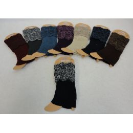 12 Units of Knitted Boot Cuffs [variegated Top/solid Bottom] - Womens Leg Warmers