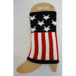 48 Units of American Flag Knitted Boot Cuffs - Womens Leg Warmers