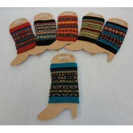 12 Units of Knitted Boot Cuffs [aztec Print] - Womens Leg Warmers