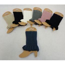 24 Units of Knitted Boot Cuff W Ruffle [braided Knit] - Womens Leg Warmers