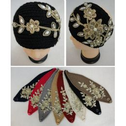 48 Units of Hand Knitted Ear Band W Metallic Floral Applique [pearls & Gems] - Ear Warmers