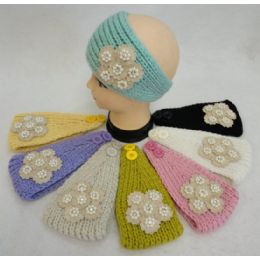 46 Units of Hand Knitted Ear Band W Applique [flower/pearl/diamond] - Ear Warmers