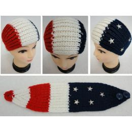 48 Units of American Flag Hand Knitted Ear Band [red/white/blue With Stars] - Ear Warmers